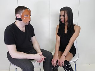 Masked lady's man asks and Kira Noir answers. Behind the scenes