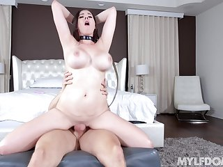 Busty sweeping rides with all her energy after a sloppy oral start