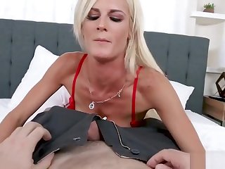 Hot Blonde MILF Back Red-hot Lingerie and Stockings Teases and Fucks Hubby