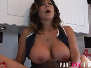 Busty housewife, Tara Beanfeast was moaning while acquiring her trimmed pussy licked just about along to Nautical galley
