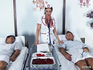 Wild sex with double penetration for shaved pussy nurse Diamond Foxxx