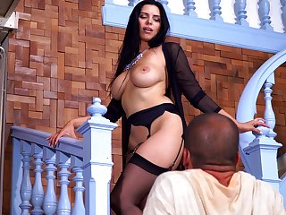 Busty brunette Kira Quenn drops her dress to be fucked hard by her hubby