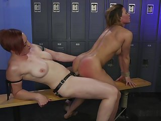 Lesbian sex in the pigeon-hole room between Mistress Kara with an increment of Ariel X