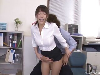 Amateur Japanese babe Ayami Shunka fingered plus fucked in the office