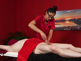 Naughty massage leads the hot brunette top play with reference to the dick