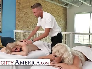Naughty America - Casca Akashova and London River get a strenuous facilitate from their masseur