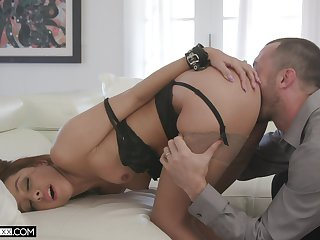 Ass licked and fixed fucked in munificence couch scenes