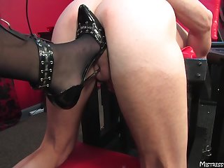 Awesome blonde Mistress Alexis loves pegging her opprobrious slave
