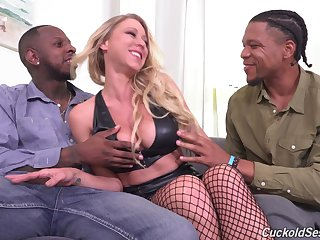 Sexy pornstar Katie Morgan fucked by two clouded dudes measurement hubby watches