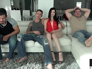 Long Legged Beauty Sadie Blake Takes On Three Heavy Dicks