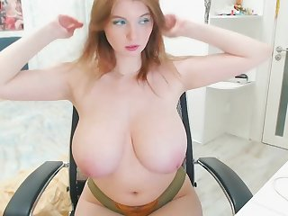 Curvy redhead PAWG with mammal tits teasing imported on webcam - big ass solo