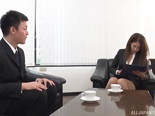Libidinous delight for a wonderful Japanese office lady with screwy curves