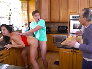 Fabulous MILF with big boobs cheats on husband in the kitchen