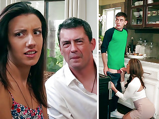 Super-Naughty Mammy deep throating enormous man sausage of daughter-in-law's BEAU