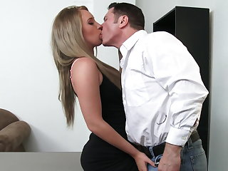 Sexy employee Harley Tunnel will do anything for raise