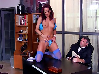 Foot fetish office kink shows be imparted to murder secretary downward slutty