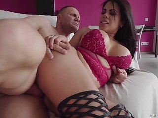 Latina babes with fake tits Kesha Ortega and Sheila Ortega share cock