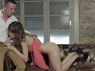 intense cock ride and a blowjob from slender Carol Vega in high heels
