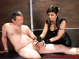 Man slave is a supreme pain-slut and loves getting his balls busted by Mistress