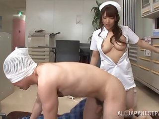 Busty Asian Shiori Kamisaki is put emphasize real skillful of a blowjob increased by a tit pursuit