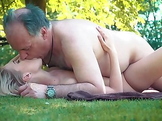 Petite teen fucked away from grandpa more than a picnic she blows and swallows him