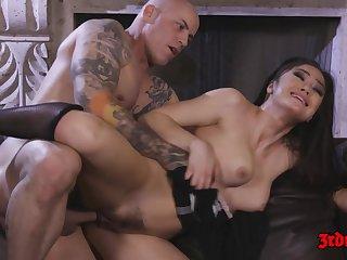 Hot Brunette Maid Kendra Spade rides big dick on sofa - cumshot