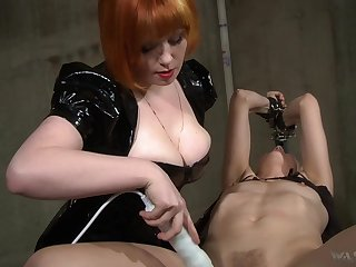 Hot mistress uses her boobs to get yourselves slaves and she loves electro play