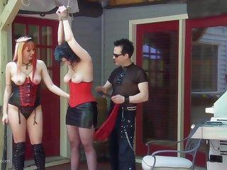 Public degeneracy and threesome fucking with two unskilful sluts