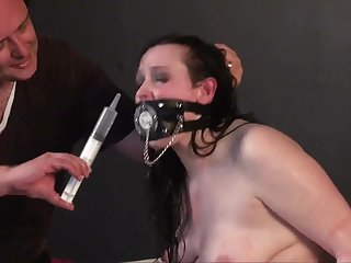 Chubby comprehensive with a big butt gets punished off out of one's mind a perverted master