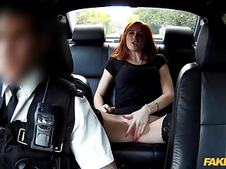Redhead gets banged by eradicate affect cops on eradicate affect way to jail